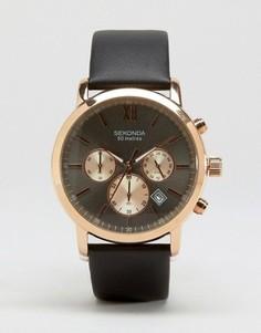 Часы-хронограф с черным кожаным ремешком Sekonda эксклюзивно для ASOS - Черный