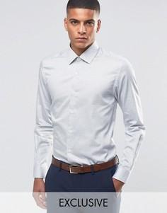 Строгая рубашка скинни в горошек Number Eight Savile Row - Белый