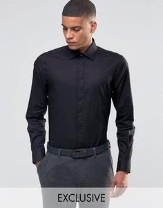 Строгая рубашка скинни с фигурной строчкой на груди Number Eight Savile Row - Черный