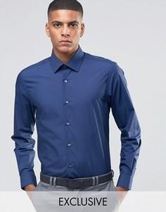 Зауженная рубашка в строгом стиле Number Eight Savile Row - Темно-синий