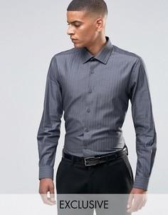Строгая рубашка скинни в елочку Number Eight Savile Row - Серый