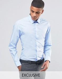 Зауженная рубашка в строгом стиле Number Eight Savile Row - Синий