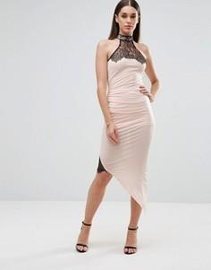 Платье-футляр с асимметричным подолом и кружевными вставками Sistaglam - Белый