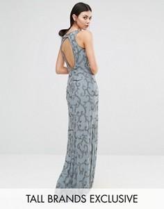 Платье макси с пайетками и вырезом на спинке Maya Tall - Серый