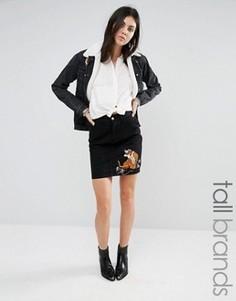 Джинсовая юбка с вышивкой в виде тигра Glamorous Tall - Черный
