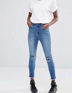 Укороченные зауженные джинсы с высокой талией Liquor & Poker - Синий