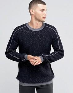 Джемпер с круглым вырезом, изнаночной строчкой и контрастным швом Sisley - Серый