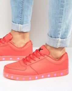 Низкие кроссовки с подсветками LED Wize & Ope - Красный