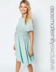 Приталенное платье для беременных с пайетками ASOS Maternity Premium - Зеленый