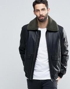 Черная куртка из искусственной кожи с воротником борг ASOS - Черный