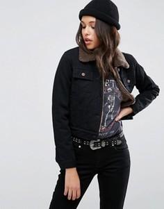 Черная укороченная джинсовая куртка с воротником борг ASOS - Черный