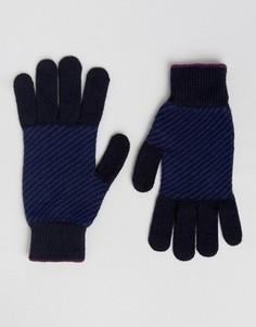 Перчатки с узором в елочку Ted Baker - Синий