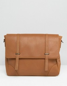 Кожаная сумка‑сэтчел с металлическими застежками ASOS - Рыжий