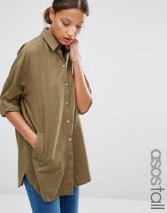 Мягкая саржевая oversize‑рубашка ASOS TALL - Зеленый