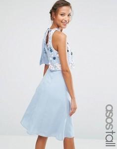 Платье миди с кроп‑топом и цветочной 3D‑отделкой ASOS TALL - Синий