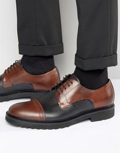 Туфли дерби с контрастным носком и фактурной вставкой BOSS By Hugo Boss - Коричневый