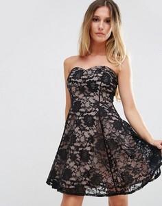 Кружевное платье с вырезом сердечком Jessica Wright - Черный