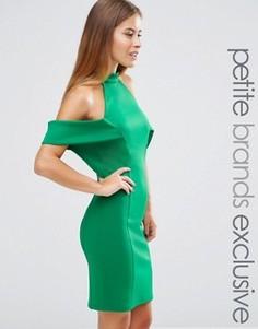 Платье мини с высокой горловиной и вырезами на плечах John Zack Petite - Зеленый