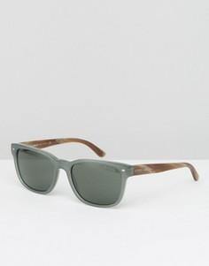 Серые солнцезащитные очки в стиле ретро Giorgio Armani - Серый