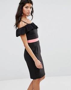 Платье-футляр с открытыми плечами и оборками Paper Dolls - Черный