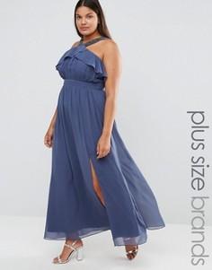 Платье макси с глубоким разрезом и высоким воротом Little Mistress Plus - Серый
