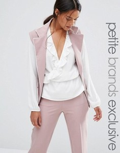 Удлиненный блейзер без рукавов с контрастной окантовкой Alter Petite - Розовый