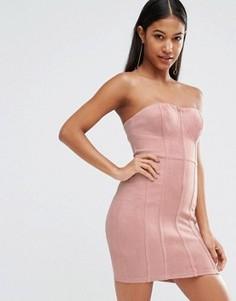 Облегающее платье бандо в замшевом стиле с ажурной отделкой NaaNaa - Розовый