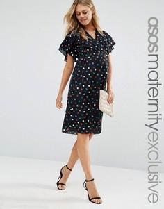 Чайное платье миди для беременных с узором в горошек и запахом ASOS Maternity - Мульти