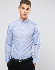 Строгая рубашка с воротником на пуговицах Selected Homme - Синий