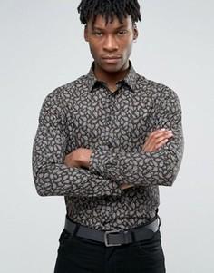 Строгая рубашка узкого кроя с принтом Devils Advocate - Черный