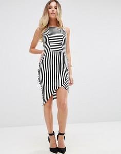 Полосатое платье-футляр с асимметричным краем Jessica Wright - Черный