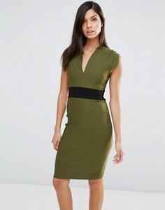 Платье-футляр с короткими рукавами и поясом Vesper - Зеленый