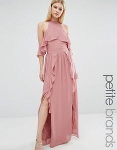Платье макси с высокой горловиной и оборками TFNC Petite Wedding - Розовый