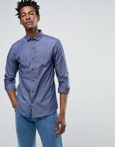 Рубашка слим с длинными рукавами и принтом Selected - Синий