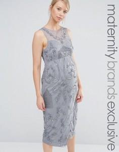 Декорированное платье миди для беременных с запахом на юбке Maya Maternity - Серый