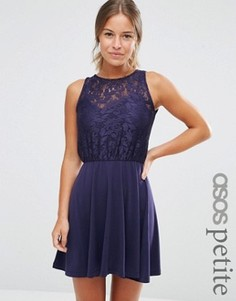 Платье мини с кружевным лифом-блузкой и плиссированной юбкой ASOS PETITE - Темно-синий