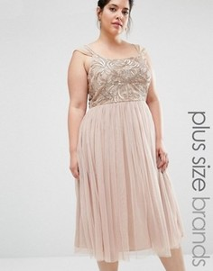 Платье мини с юбкой из тюля и декоративной отделкой Lovedrobe Luxe - Бежевый