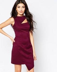Жаккардовое асимметричное платье с вырезом Liquorish - Красный