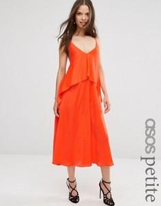 Многослойное платье миди на бретельках ASOS PETITE - Оранжевый