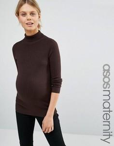 Джемпер для беременных в рубчик с высокой горловиной ASOS Maternity - Коричневый