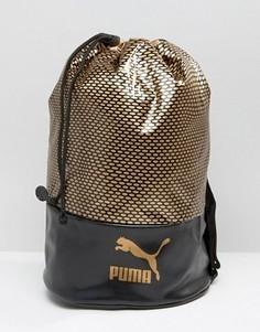 Черная сумка с золотистым логотипом Puma - Черный