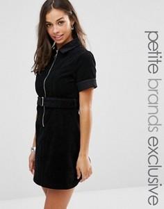Вельветовое платье на молнии с короткими рукавами и поясом Glamorous Petite - Черный