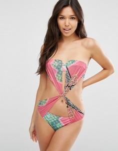 Слитный купальник-бандо с драпировкой и платочным принтом ASOS - Мульти