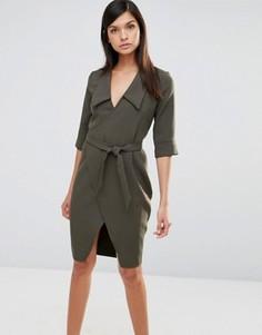 Платье с запахом и рукавами 3/4 Vesper - Зеленый