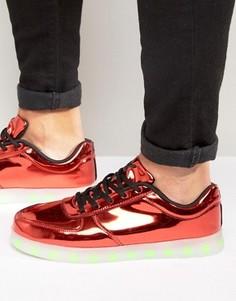 Низкие кроссовки цвета металлик с подсветками LED Wize & Ope - Красный