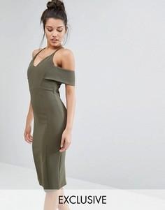 Платье-футляр на бретельках с открытыми плечами Vesper - Зеленый
