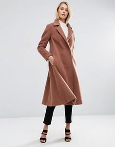 Трапециевидное пальто миди ASOS - Коричневый