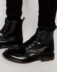 Кожаные ботинки со шнуровкой Base London Mercury - Черный
