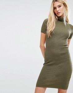 Трикотажное платье в рубчик с отворачивающимся воротом Noisy May - Зеленый