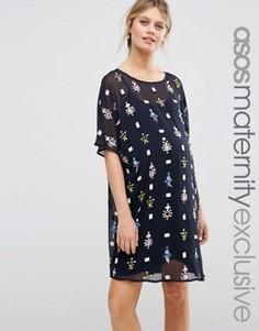 Платье мини для беременных с геометрической декоративной отделкой ASOS Maternity - Темно-синий